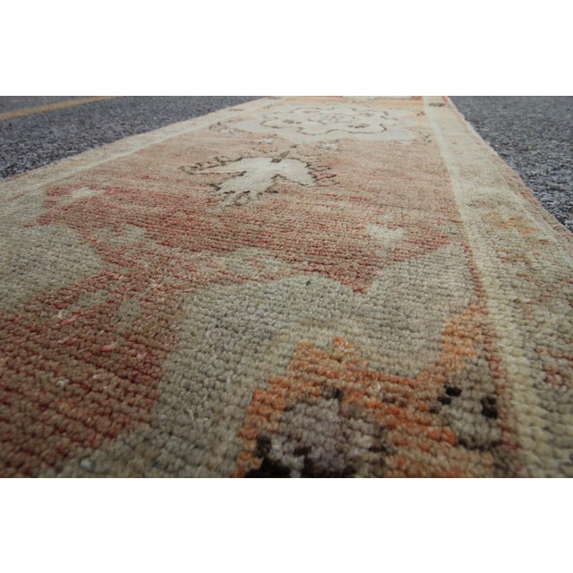 Tribal Antique Turkish Oushak Hand Knotted Rug - 1'8 X 12'9 For Sale - Image 5 of 6