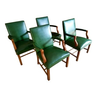 1935 Jasper Chair Company Green Walnut Club Chairs - Set of 4