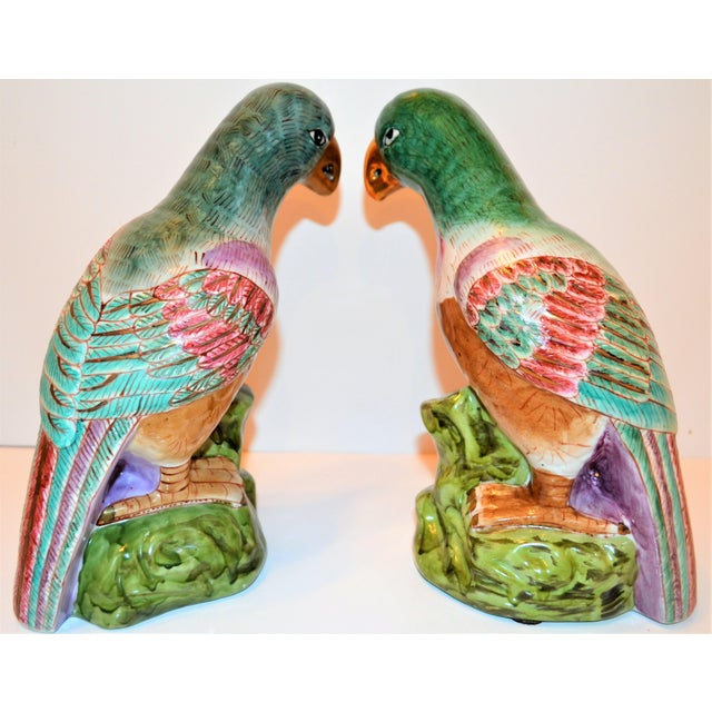 Metal (Final Markdown) Green Majolica Parrot Figurines - a Pair For Sale - Image 7 of 12