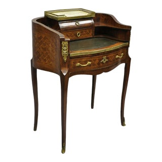 20th Century French Louis XV Small Inlaid Petite Demilune Writing Desk For Sale