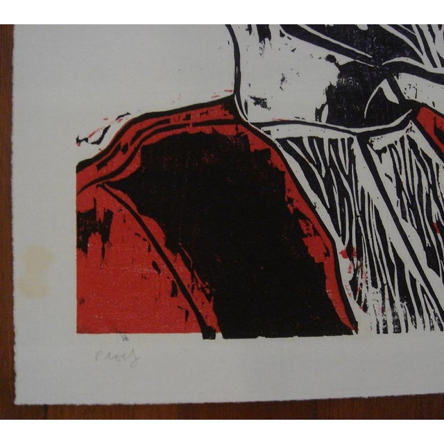 """1962 """"Laureate"""" Color Woodblock Print by William Wolff - Image 4 of 4"""