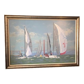 Large Oil Painting Marine Sailing by R C Mitchell England For Sale