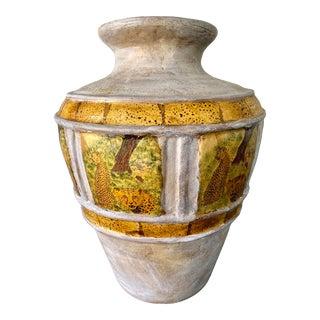 African Terra Cotta Decoupage Leopard Floor Vase For Sale