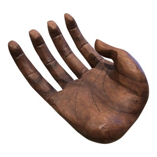 Vintage Bohemian Carved Wood Human Hand