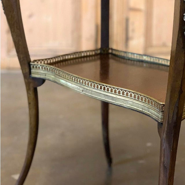 Brown 19th Century French Louis XVI Marble Top End Table For Sale - Image 8 of 13