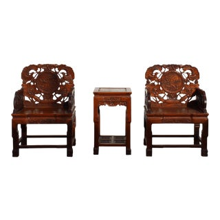 Chinese Elm Wood Carved Armchairs With Side Table - Set of 3