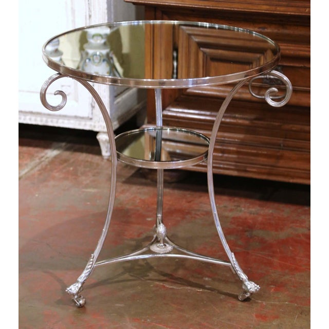 Vintage French Directoire Silver Plated Metal and Mirrored Top Guéridon Table For Sale - Image 9 of 9