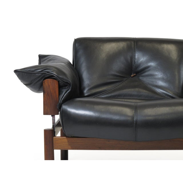 Modern Percival Lafer Brazilian Modernist Rosewood Sofa and Chair in Black Leather For Sale - Image 3 of 13