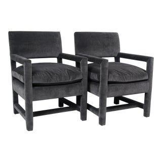 Pair of Parsons Style Chairs Newly Reupholstered in Mushroom Velvet For Sale