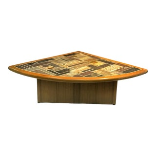 Danish Modern Mosaic Tile Top Triangle Wedge Coffee Table For Sale