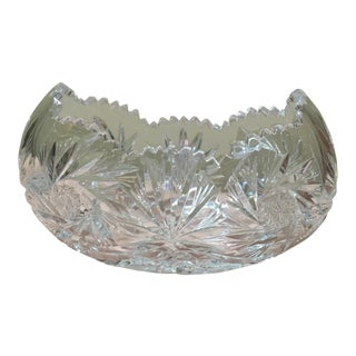 20th Century Traditional Saw Tooth Cut Crystal Bowl For Sale