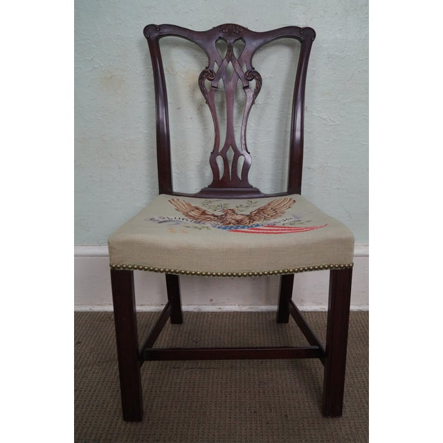Antique Chippendale Style Eagle Needlepoint Side Chair For Sale - Image 9 of 10