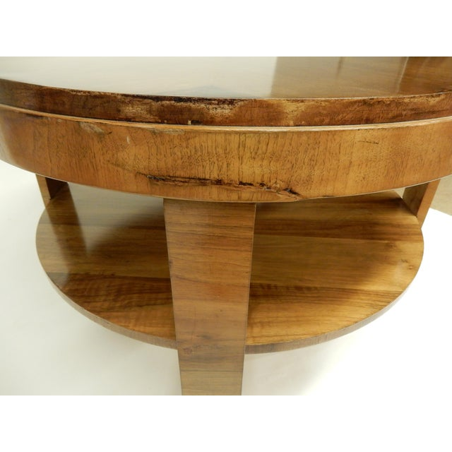 Wood Art Deco Round Walnut Side Table For Sale - Image 7 of 10