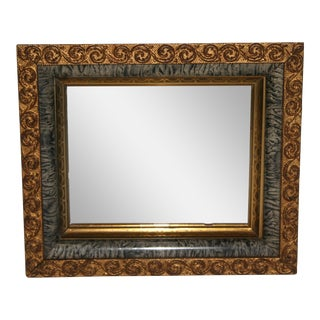 Antique Gold and Gray Faux Marble Shadowbox Mirror