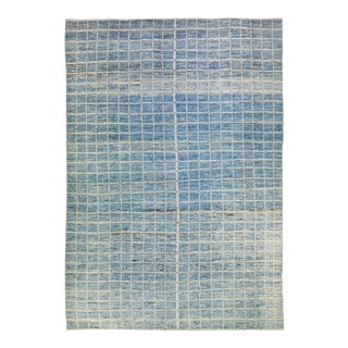 Modern Moroccan Style Handmade Seamless Square Pattern Oversize Wool Rug For Sale