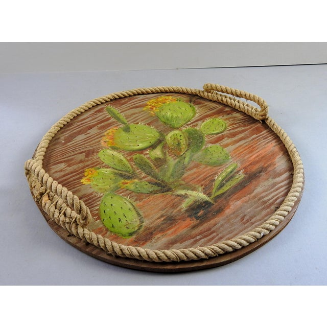Boho Chic Hand Painted Cactus Tray For Sale - Image 3 of 5