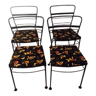 Vintage Mid-Century Wrought Iron Chairs- Set of 4