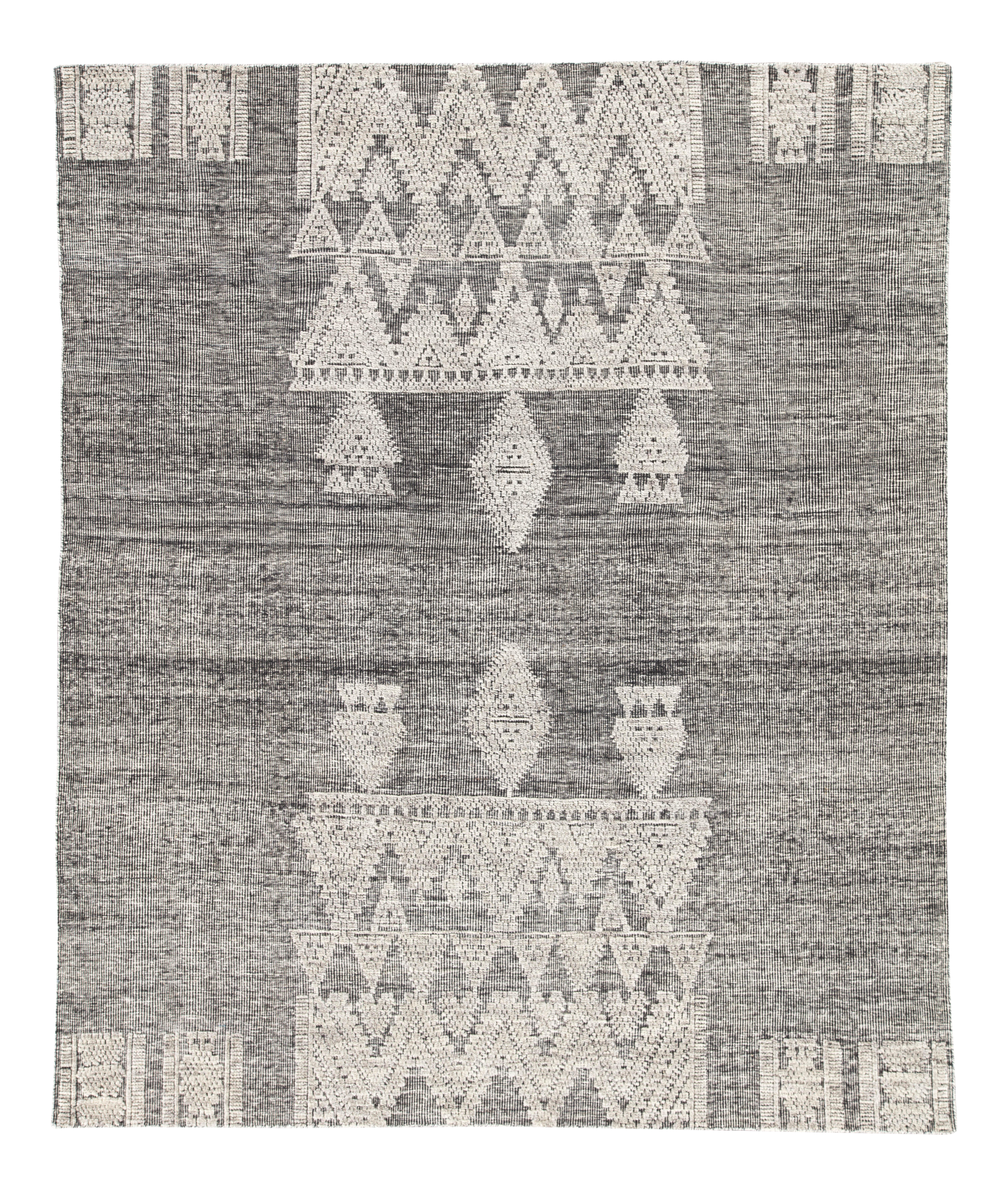 Jaipur Living Torsby Hand-Knotted Geometric Black & Ivory Area Rug - 8' X 10' For Sale