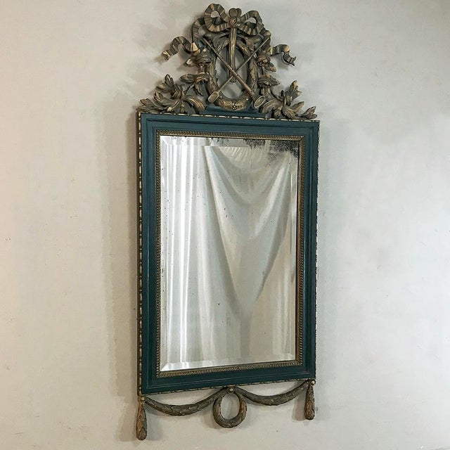 19th Century Italian Carved Wood Painted Marble Top Console With Mirror For Sale In Dallas - Image 6 of 13