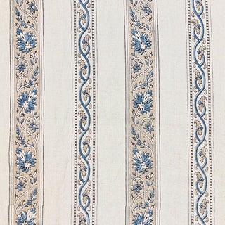 Contemporary Studio Four Calicut Border Linen Designer Fabric For Sale