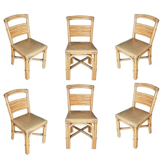 Wood Restored Slat Legs and Back Rattan Dining Chair, Set of Six For Sale - Image 7 of 7