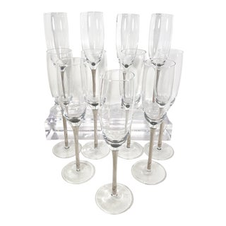 Modern Silver Stemmed Champagne Flute Glasses - Set of 11 For Sale