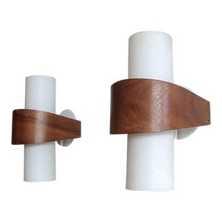 Teak and White Philips Wall Sconces - a Pair For Sale