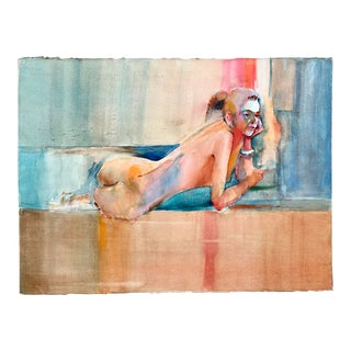 Vintage Reclining Nude Woman Watercolor Painting by Rich Buchwald For Sale