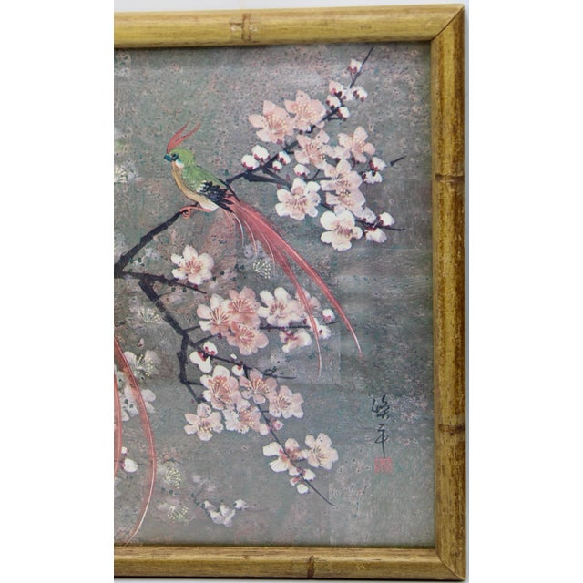 Unique and beautiful, vintage print of exotic birds sitting in a floral tree that is in full bloom. Bamboo style wooden...