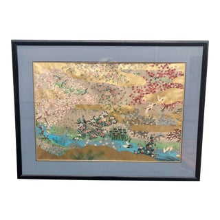 """Chinoiserie """"Birds and Flowers"""" Gilt Ink Drawing on Paper For Sale"""