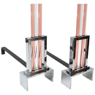 Set of Art Deco Style Fireplace Andirons in Polished Chrome and Glass