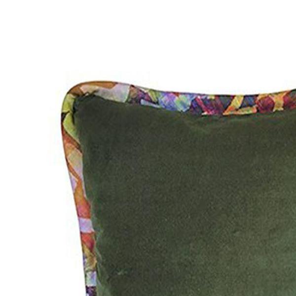 Boho Chic Forest Green / Bakuba Lodge Velvet Throw Pillow For Sale - Image 3 of 5
