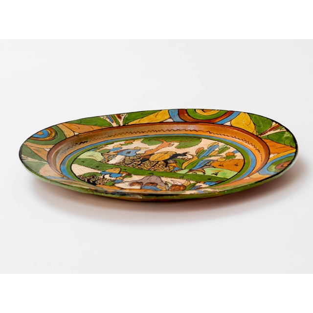 Ceramic Tlaquepaque 1930s Mexican Hand-Painted Ceramic Charger Tray For Sale - Image 7 of 11