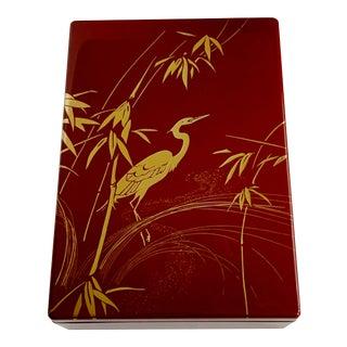 Japanese Lacquer Trinket Box Gilt Egret For Sale
