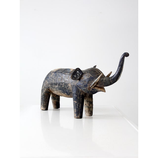 Wood Antique Wooden Elephant For Sale - Image 7 of 10