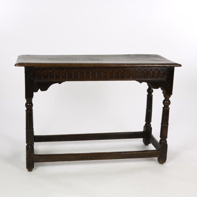 17th Century Joined Oak Side Table, Box Stretchers, Turned Oak Legs, English Circa 1680 For Sale In San Francisco - Image 6 of 10