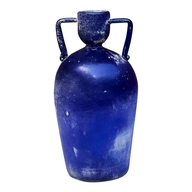 "1970 Large Blue Cenedese ""Scavo"" Handled Vase For Sale"