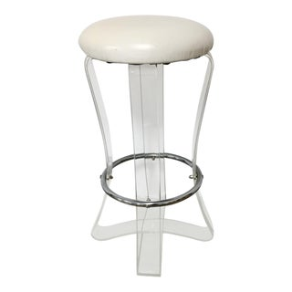 1970s Karmel Lucite Ribbon Barstool For Sale