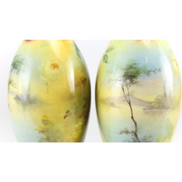 Green Franz Anton Mehlem Royal Bonn Porcelain Hand Painted Portait Vases - A Pair For Sale - Image 8 of 8