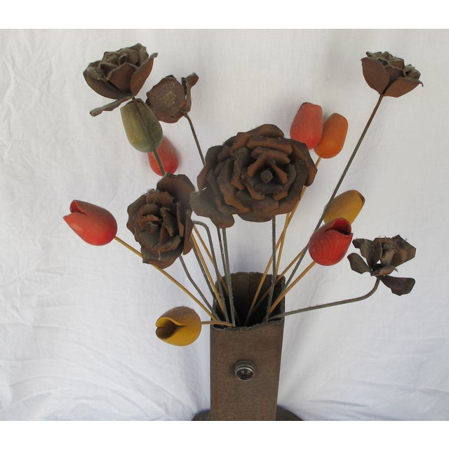 1960s Brutilist Iron Vase & Flowers - Image 4 of 5