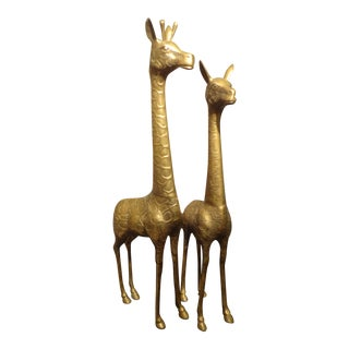 Hollywood Regency Brass Giraffes- a Pair For Sale