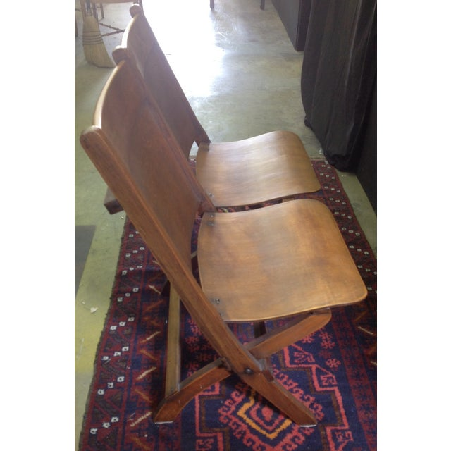 Vintage Wooden Theatre Seats - Image 5 of 6
