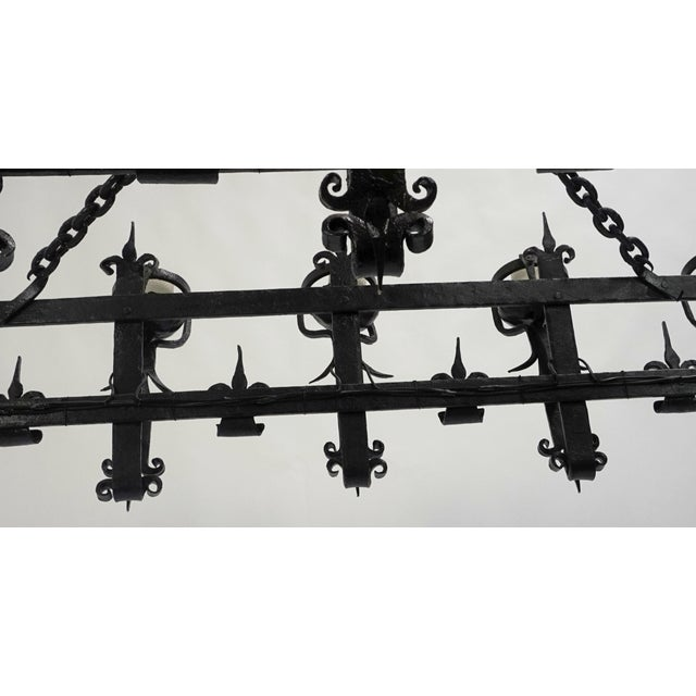 Henry III Style Hand Wrought Iron Chandelier For Sale - Image 4 of 10