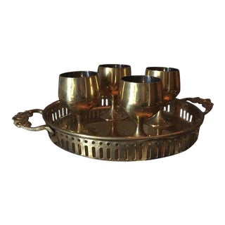 Vintage Hollywood Regency Solid Brass Cordial Set & Tray For Sale