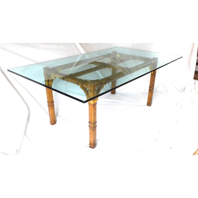 Hollywood Regency Bamboo & Glass Dining Table For Sale - Image 9 of 9