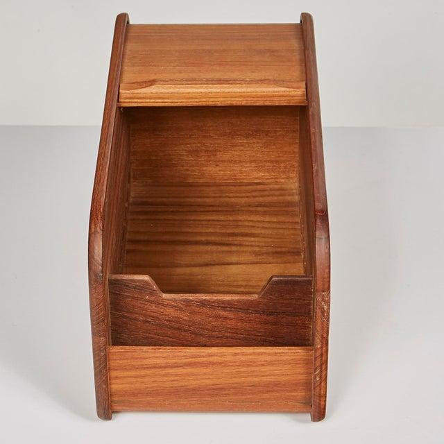 1970s large rectangular teak wood box with a tambour door.