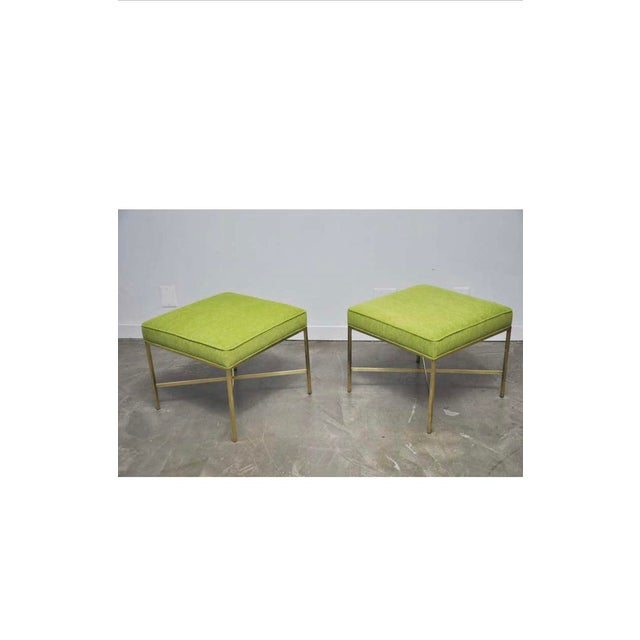 Calvin Furniture Brass X-Base Stools with Chartreuse Upholstery by Paul McCobb - a Pair For Sale - Image 4 of 7