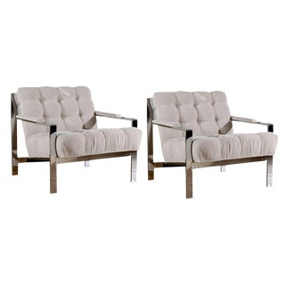 Pair of Milo Baughman Style Lounge/Club Chairs in Cut Linen Velvet For Sale