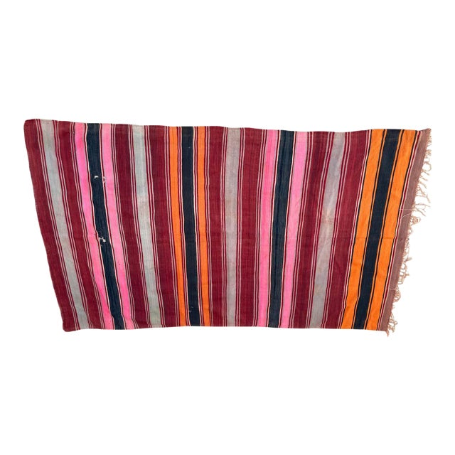 Moroccan Vintage Flat-Weave Stripe Kilim Rug For Sale