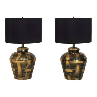 Brass Basket-Weave Lamps - a Pair